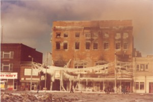 The aftermath of the fire in January 1981.  Freezing water caused even more damage to The Columbia Theatre.