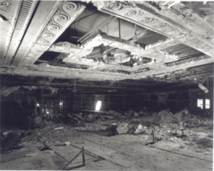 An interior view of the damage that occurred to The Columbia Theatre over time