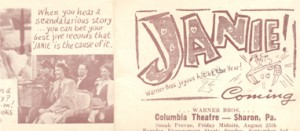 "A local newspaper snippet about the opening of ""Janie"""