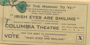 "A promotion for ""Irish Eyes Are Smiling"""