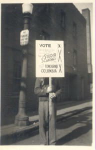 A man rallying to vote at The Columbia Theatre