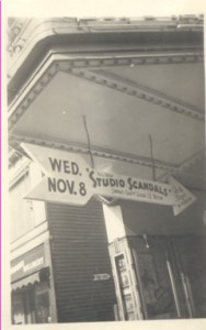 A street sign directing people into The Columbia Theatre
