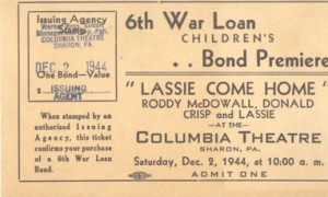 "A ticket stub for ""Lassi Come Home"" at The Columbia Theatre"