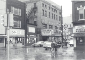 A view of downtown Sharon, Pa and The Columbia Theatre. Much has changed since those days